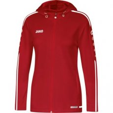 Dames JAKO Jas met kap STRIKER 2.0 chilirood/wit